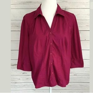 St. John's Bay Top Red Solis Button 3/4 Sleeve